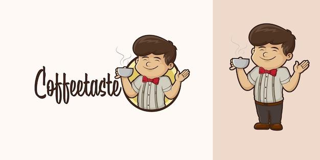 Logo de dessin animé de goût de café