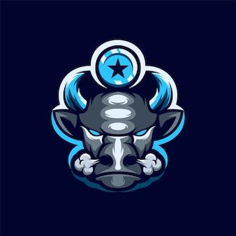 Logo de dessin animé de mascotte de buffle