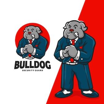 Logo de dessin animé de mascotte de personnage de bouledogue adapté à votre entreprise