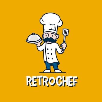 Logo de dessin animé de mascotte rétro chef