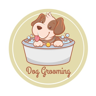 Logo de dessin animé mignon chien de toilettage soins pour animaux de compagnie
