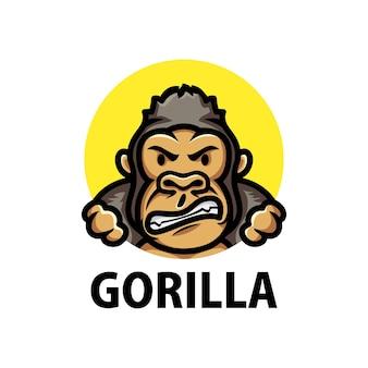 Logo de dessin animé mignon gorille