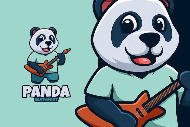 Logo de dessin animé mignon guitariste panda cartoon