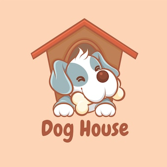 Un logo de dessin animé mignon de maison de chien