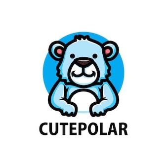 Logo de dessin animé mignon ours polaire