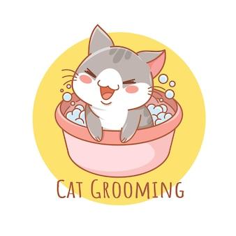 Logo de dessin animé mignon de soins pour animaux de compagnie de chat de toilettage