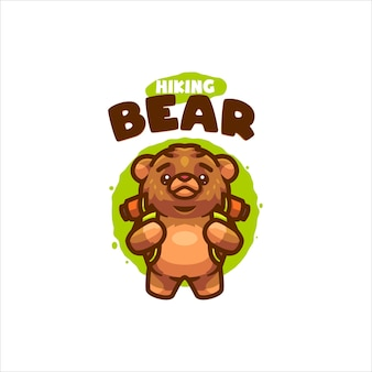 Logo de dessin animé ours de randonnée pour votre entreprise