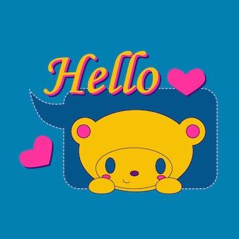 Logo de dessin animé d'ours avec le texte 3d bonjour