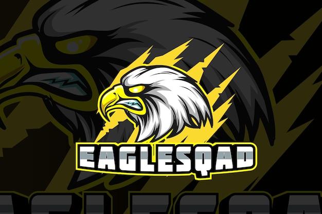 Logo de dessin animé de personnage de mascotte tête d'aigle