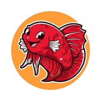 Logo de dessin animé de poisson betta
