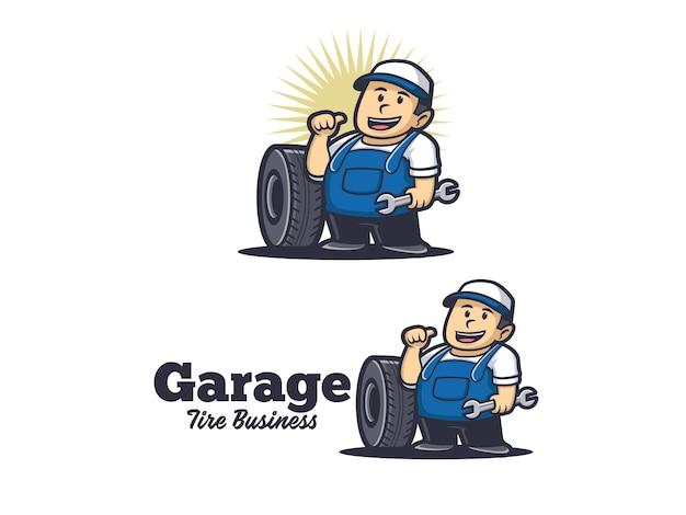 Logo de dessin animé de réparation de pneus