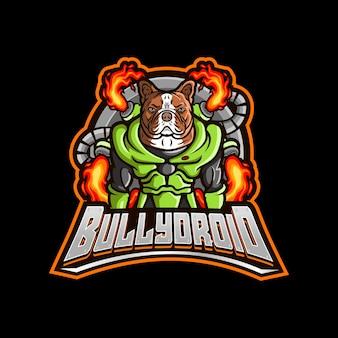 Logo de dessin animé de robot bouledogue