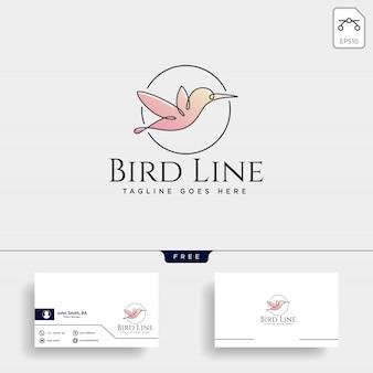 Logo de dessin au trait oiseau volant