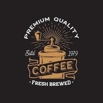 Logo de dessin à la main rétro café et café