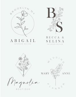 Logo dessiné à la main floral