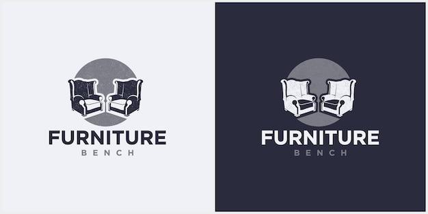 Logo de deux chaises longues espace minimaliste intérieur, vecteur de conception de logo de meubles de banc