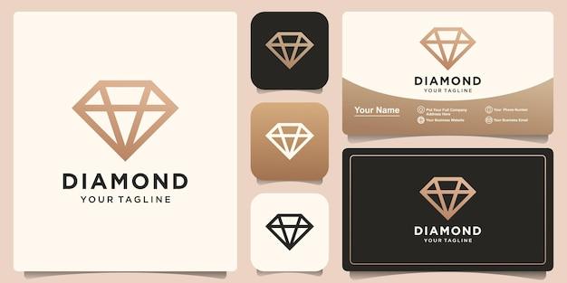 Logo de diamant et carte de visite de styliste moderne de luxe créatif