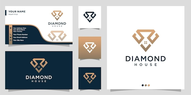 Logo de diamant avec concept de maison de contour et conception de carte de visite vecteur premium