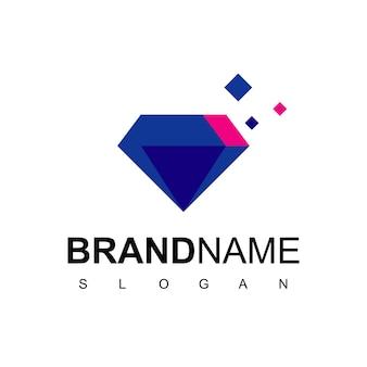 Logo de diamant, gemme avec symbole de pixel