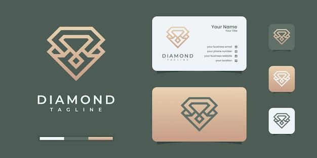 Logo de diamant avec modèle de conception de logo de style art ligne infini doré.