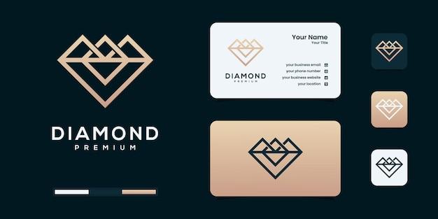 Logo de diamant avec des modèles de conception de logo de style art contour infini