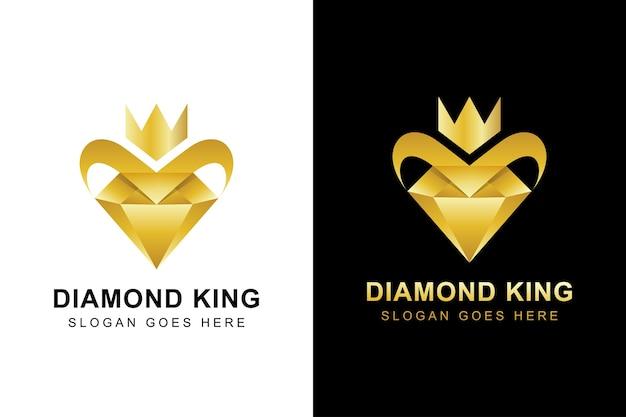 Logo de diamant d'or de luxe. diamant créatif avec logo couronne