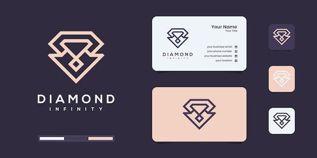 Logo de diamant avec style d'art de contour infini. modèles de conception de logo de diamants de luxe.