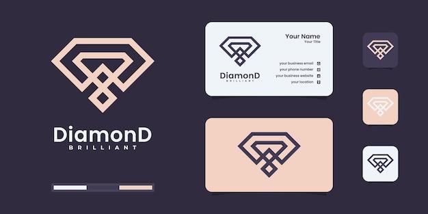 Logo de diamant avec style d'art en ligne à l'infini doré. inspiration créative de conception de logo de diamants.
