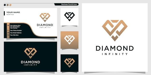Logo diamant avec style de contour de concept infini et modèle de conception de carte de visite vecteur premium