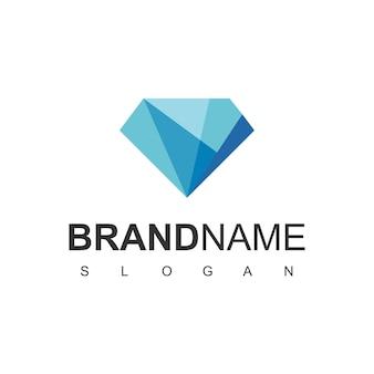 Logo de diamant, symbole de gemme bleue