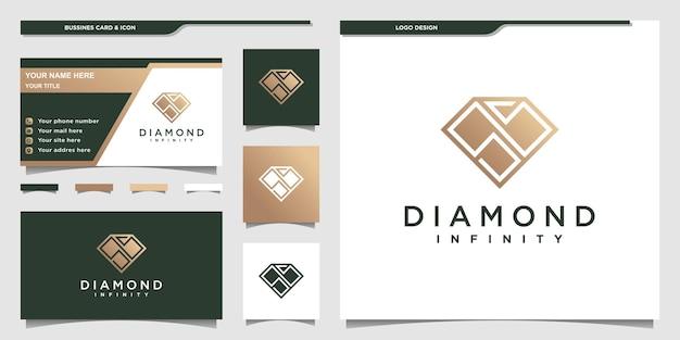 Logo diamond avec style d'espace négatif dégradé doré et carte de visite vecteur premium