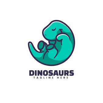 Logo dinosaure style de mascotte simple.