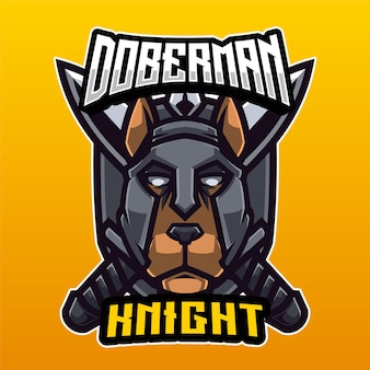 Logo Doberman Knight Vecteur Premium