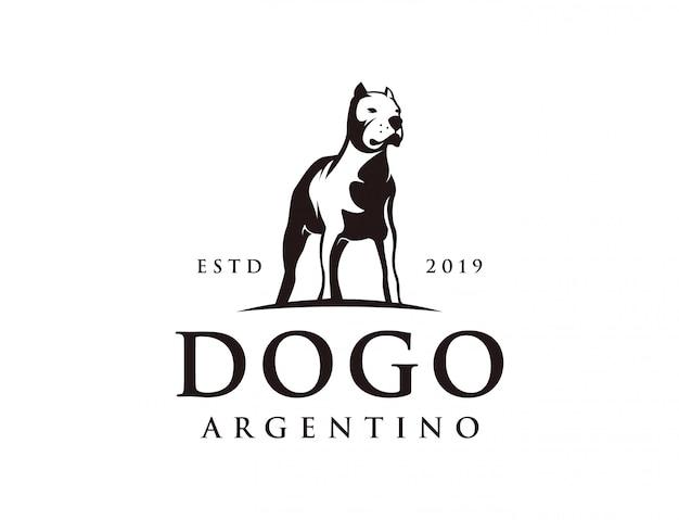 Logo dogo argentin puissant et vintage