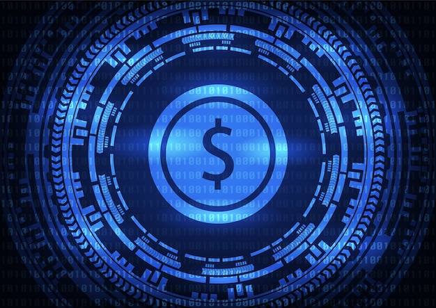 Logo de dollar de technologie abstraite sur fond bleu.
