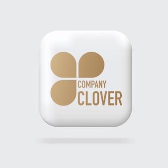 Logo doré abstrait société de logo de trèfle logo 3d signe signe volumétrique signes de bannière web