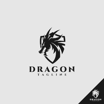 Logo dragon avec concept de bouclier