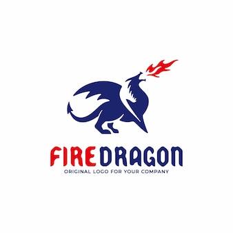 Logo de dragon crachant des flammes rouges