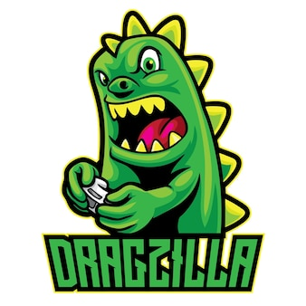 Logo dragon godzilla esport isolé sur blanc