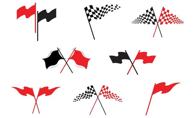 Logo de drapeau de course et modèle vectoriel de symbole
