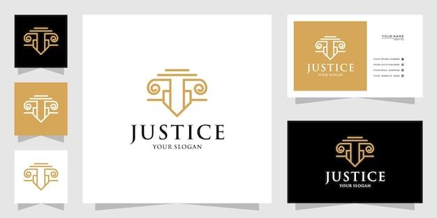 Logo de droit de luxe minimaliste avec style de dessin au trait