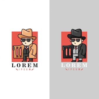 Logo drôle d'agent de saucisse dans deux options de couleurs différentes