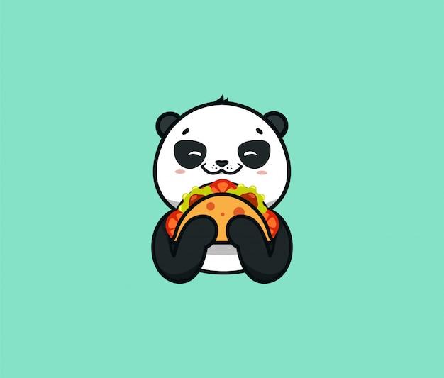 Le logo drôle de panda mange du taco. animal mignon, personnage de dessin animé, logotype de nourriture