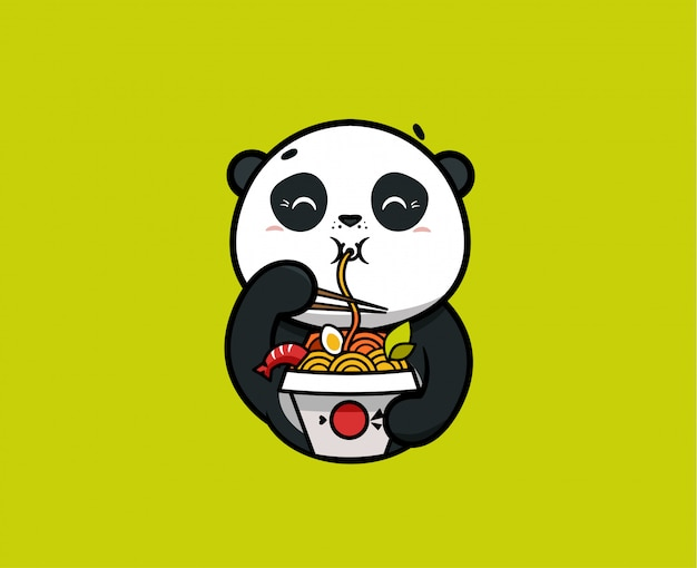 Le logo drôle de panda mange des nouilles. logotype de nourriture, animal mignon
