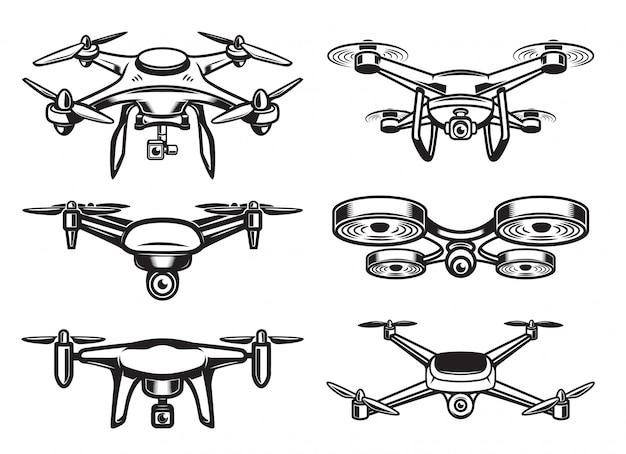 Logo de drone quadrocopter, emblème