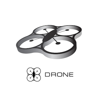 Logo de drone. quadrocoptère