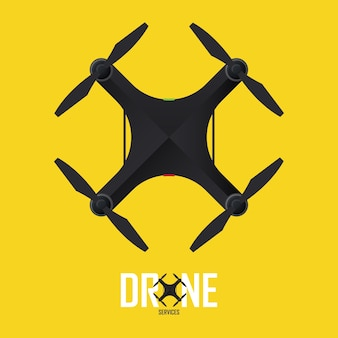 Logo de drone volant pour la société de technologie.