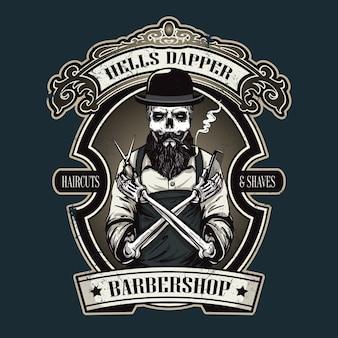 Le logo du barbier tiré à la main au style vintage