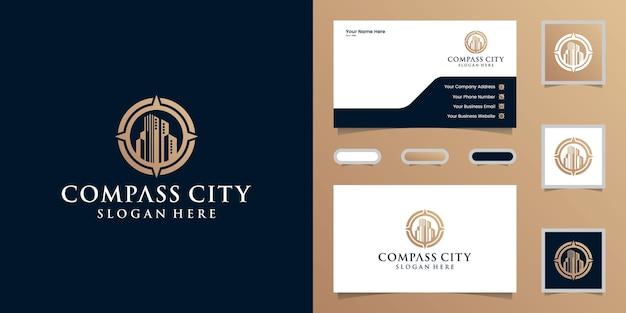 Logo du bâtiment et boussole avec modèle de conception de couleur or et carte de visite