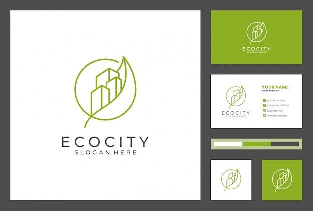 Logo du bâtiment avec conception de carte de visite vecteur premium. les logos peuvent être utilisés pour les realestae, l'entrepreneur, l'architecture, le conseil, l'investissement.